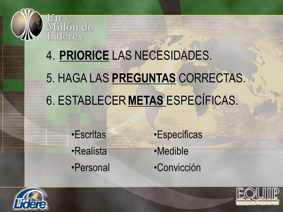 4. PRIORICE LAS NECESIDADES. 5. HAGA LAS PREGUNTAS CORRECTAS.