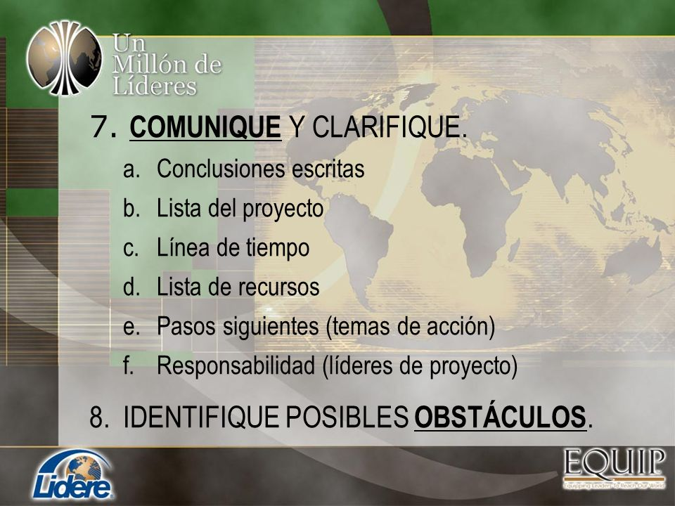 7. COMUNIQUE Y CLARIFIQUE.