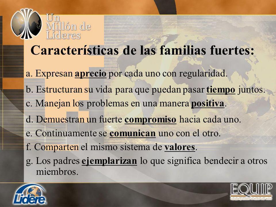 Características de las familias fuertes: