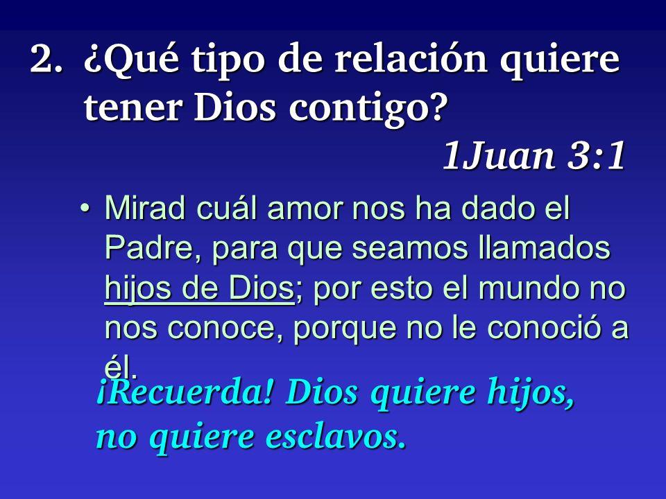 2. ¿Qué tipo de relación quiere tener Dios contigo 1Juan 3:1