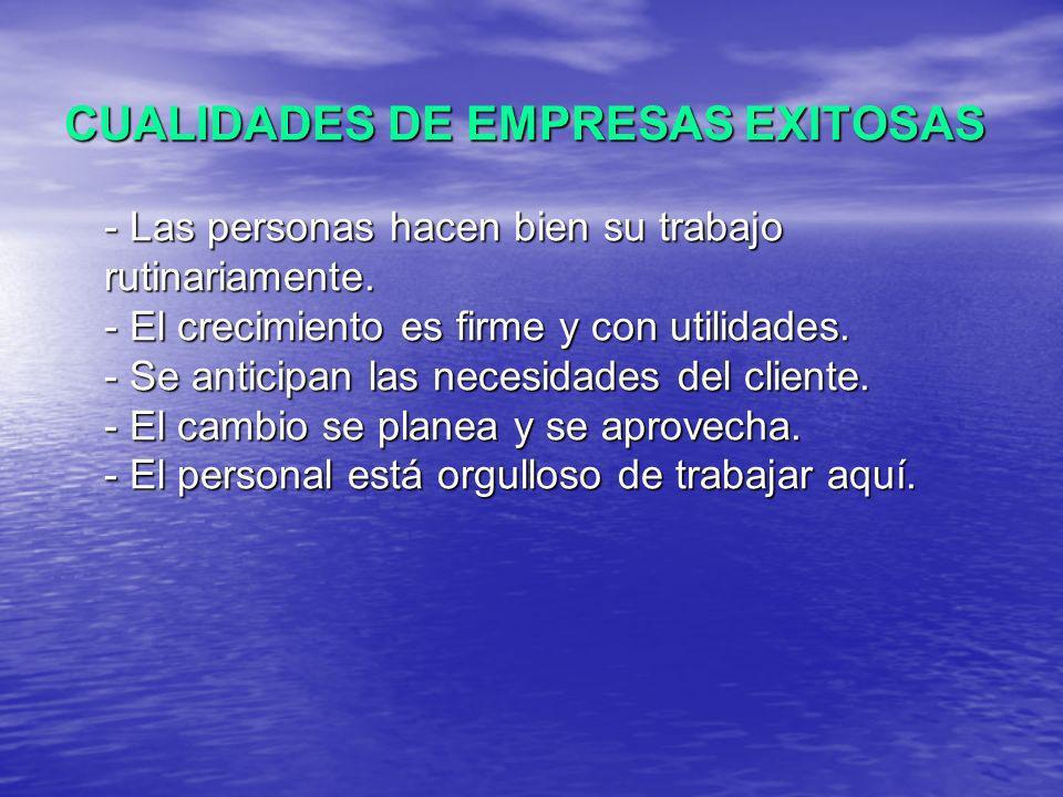 CUALIDADES DE EMPRESAS EXITOSAS - Las personas hacen bien su trabajo rutinariamente.