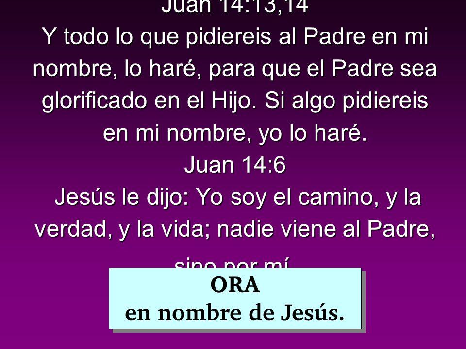 Juan 14:13,14 Y todo lo que pidiereis al Padre en mi nombre, lo haré, para que el Padre sea glorificado en el Hijo. Si algo pidiereis en mi nombre, yo lo haré. Juan 14:6 Jesús le dijo: Yo soy el camino, y la verdad, y la vida; nadie viene al Padre, sino por mí.