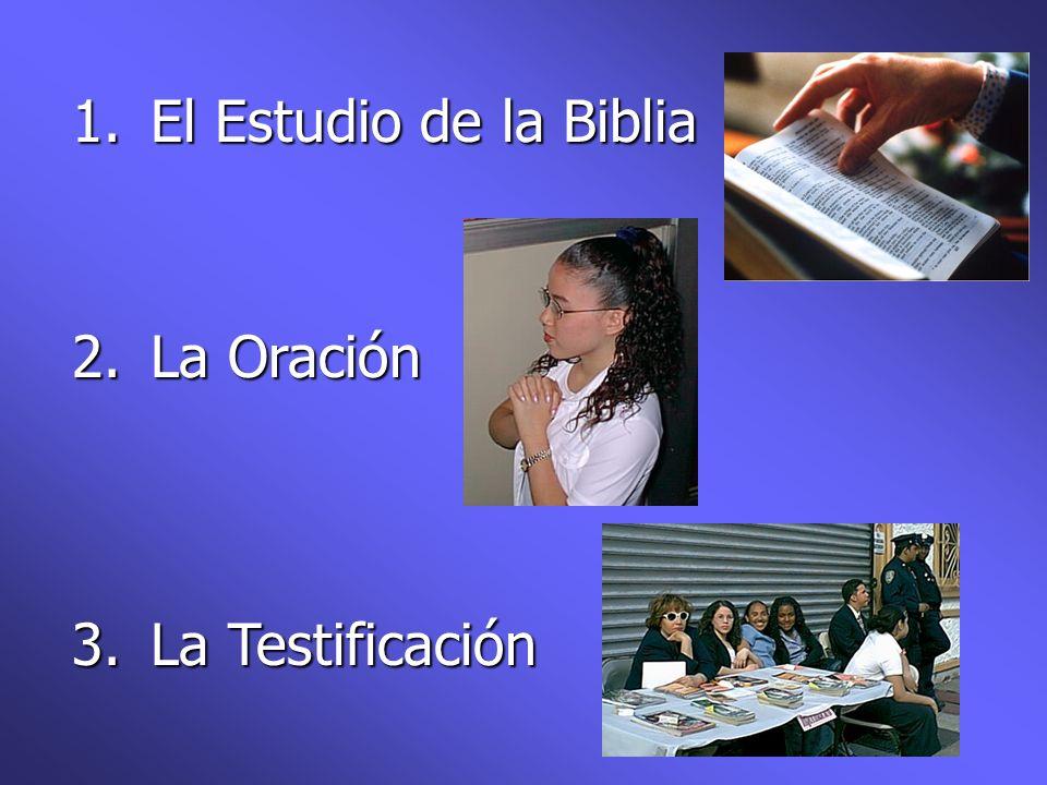 1. El Estudio de la Biblia 2. La Oración 3. La Testificación