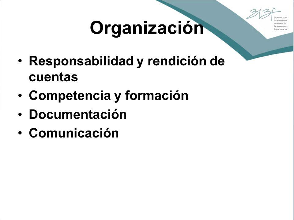 Organización Responsabilidad y rendición de cuentas