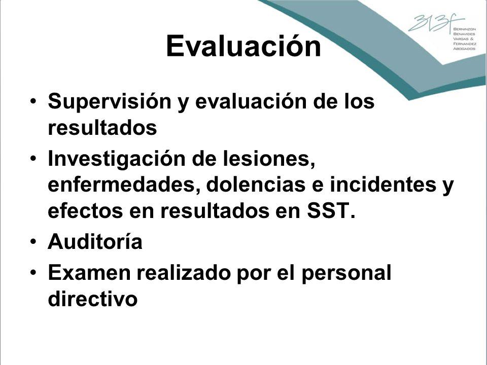 Evaluación Supervisión y evaluación de los resultados