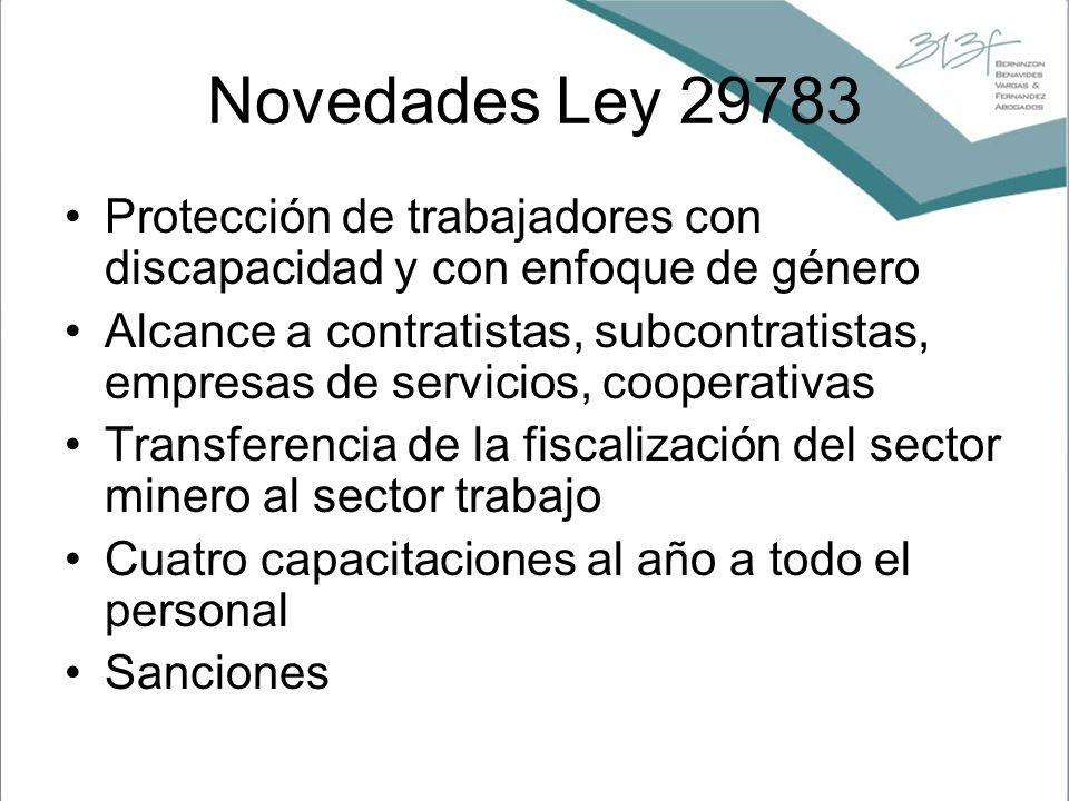 Novedades Ley 29783 Protección de trabajadores con discapacidad y con enfoque de género.