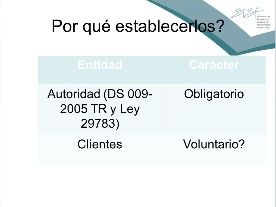 Autoridad (DS 009-2005 TR y Ley 29783)