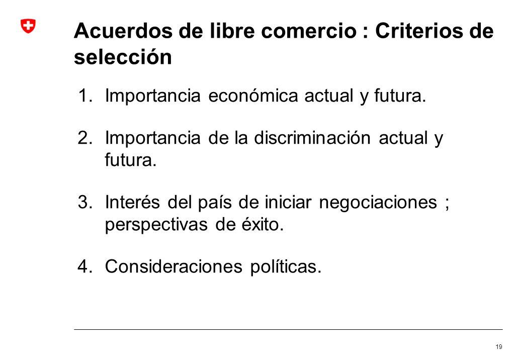 Acuerdos de libre comercio : Criterios de selección