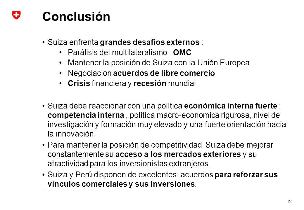 Conclusión Suiza enfrenta grandes desafíos externos :