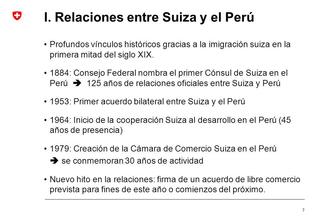 I. Relaciones entre Suiza y el Perú