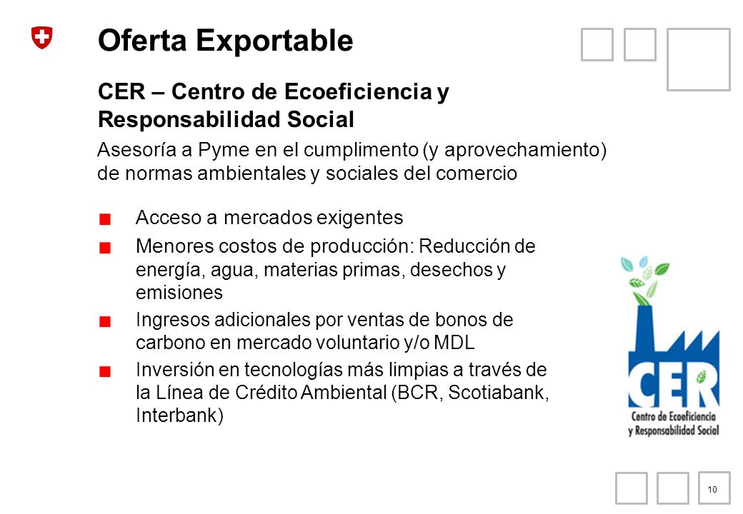 Oferta Exportable CER – Centro de Ecoeficiencia y Responsabilidad Social.
