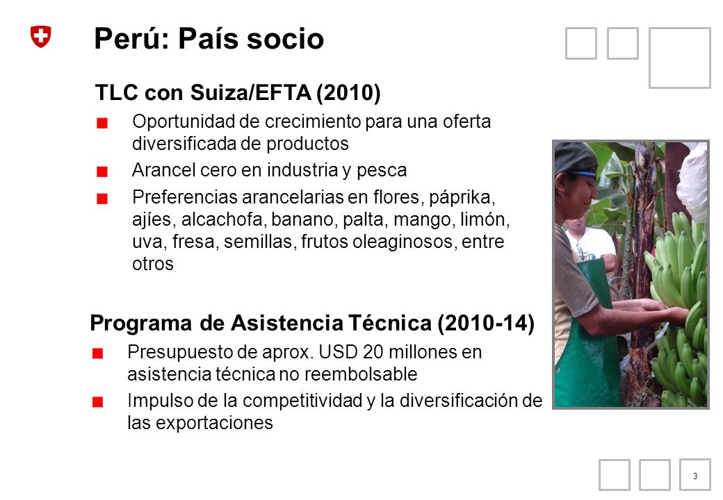 Perú: País socio TLC con Suiza/EFTA (2010)