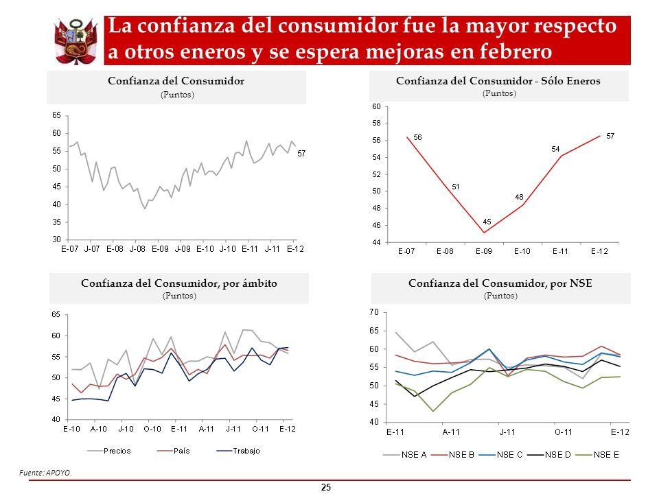 La confianza del consumidor fue la mayor respecto a otros eneros y se espera mejoras en febrero