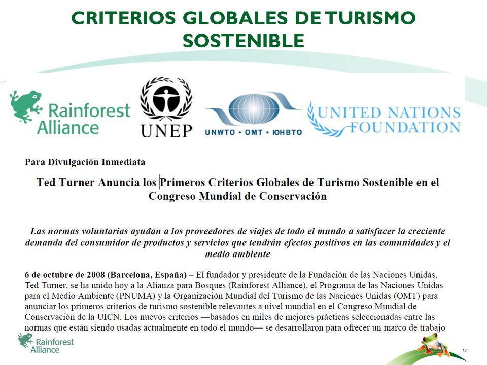 Criterios globales de turismo sostenible