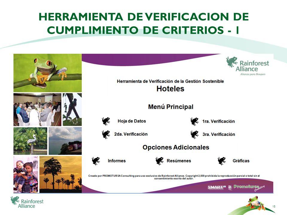 Herramienta de verificacion de cumplimiento de criterios - 1