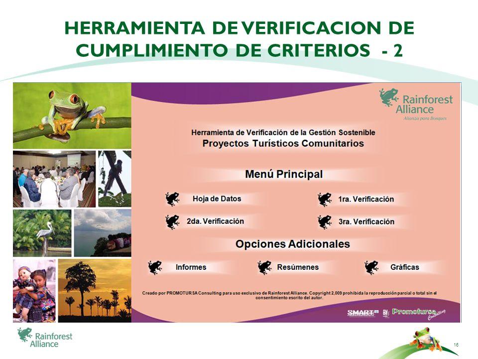 Herramienta de verificacion de cumplimiento de criterios - 2