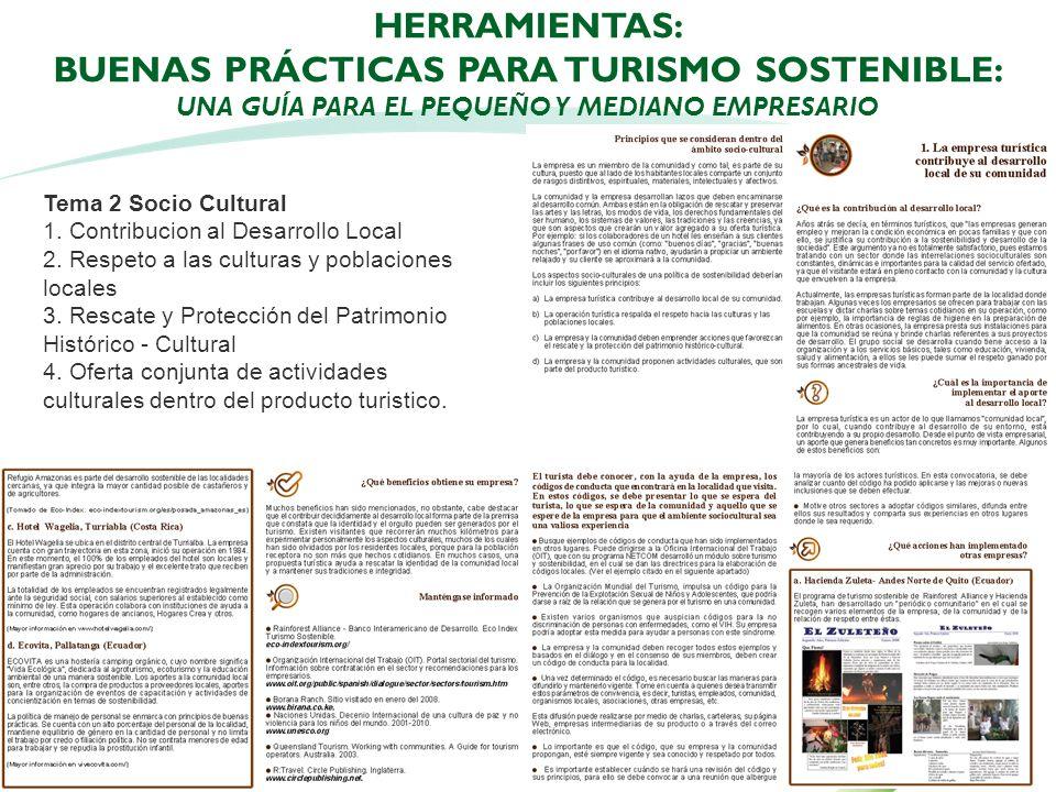 HERRAMIENTAS: Buenas Prácticas para Turismo Sostenible: Una Guía para el Pequeño y Mediano Empresario