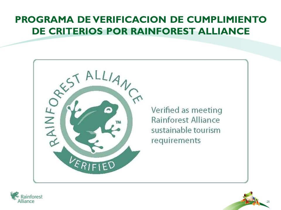 PROGRAMA DE VERIFICACION DE CUMPLIMIENTO DE CRITERIOS POR RAINFOREST ALLIANCE