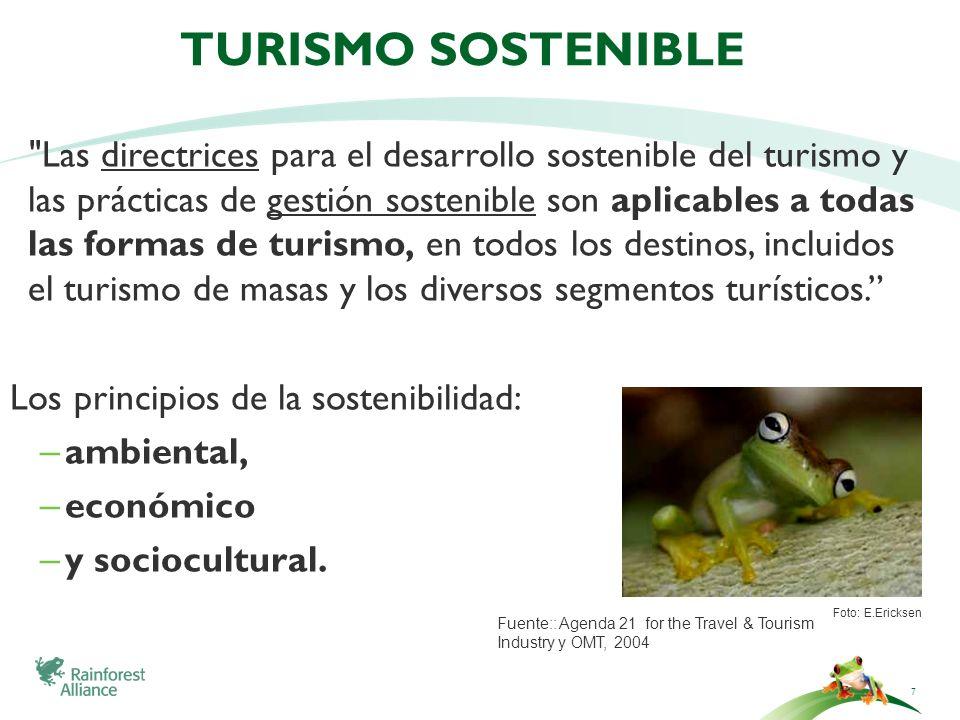 Turismo sostenible Los principios de la sostenibilidad: ambiental,