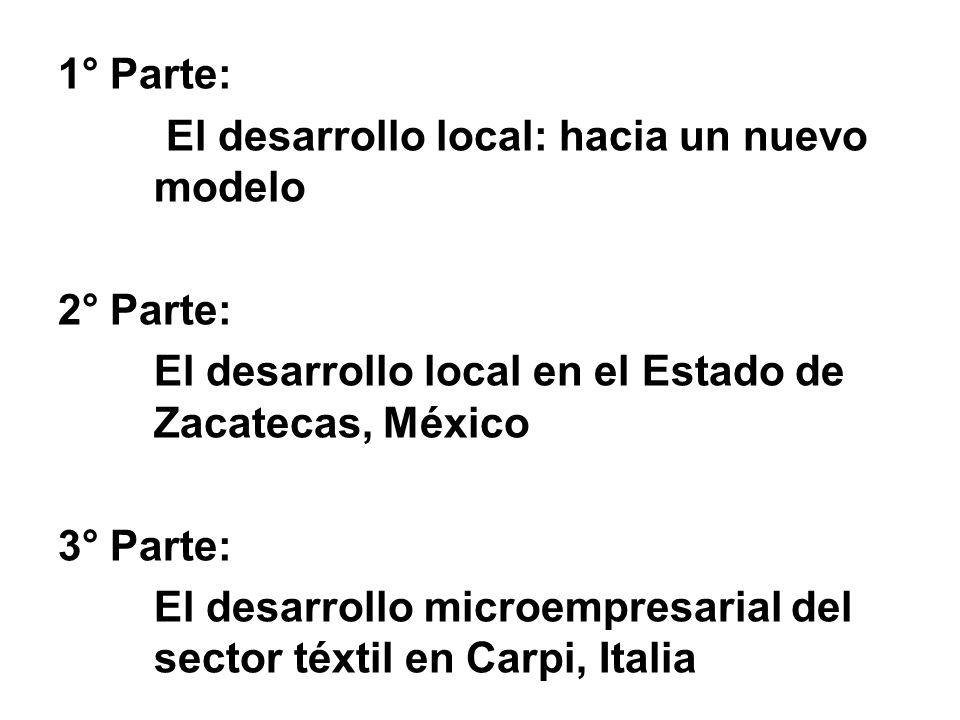 1° Parte: El desarrollo local: hacia un nuevo modelo. 2° Parte: El desarrollo local en el Estado de Zacatecas, México.