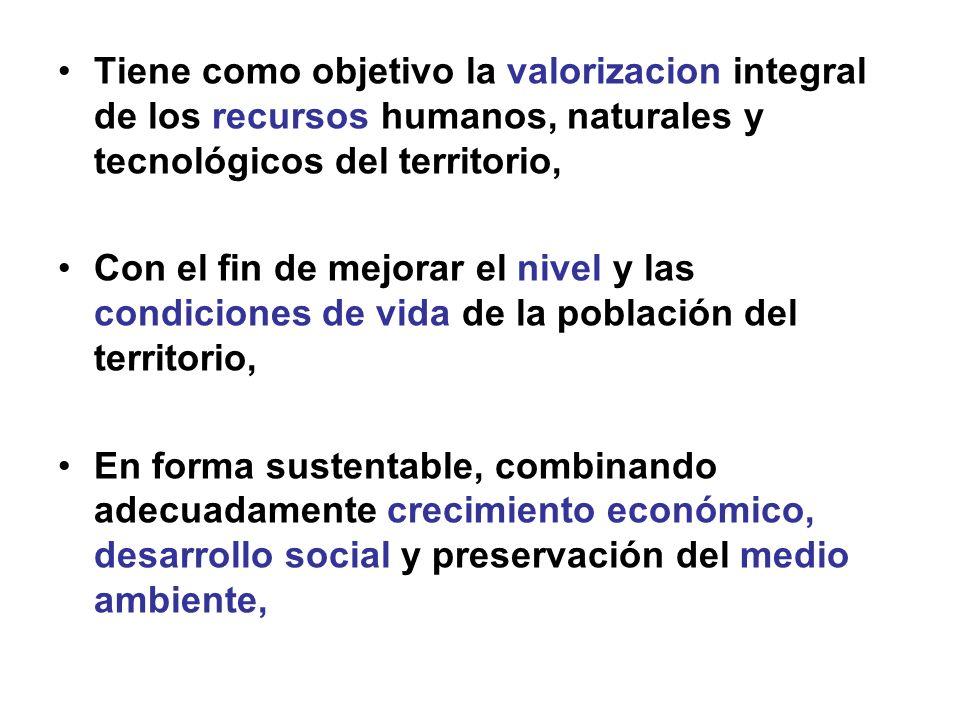 Tiene como objetivo la valorizacion integral de los recursos humanos, naturales y tecnológicos del territorio,