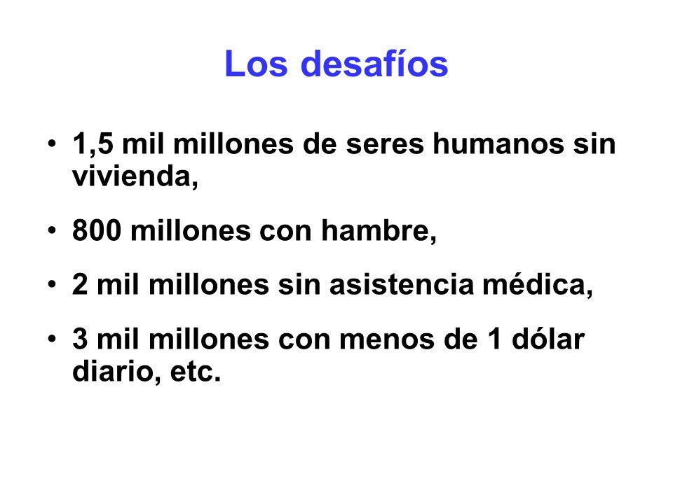 Los desafíos 1,5 mil millones de seres humanos sin vivienda,