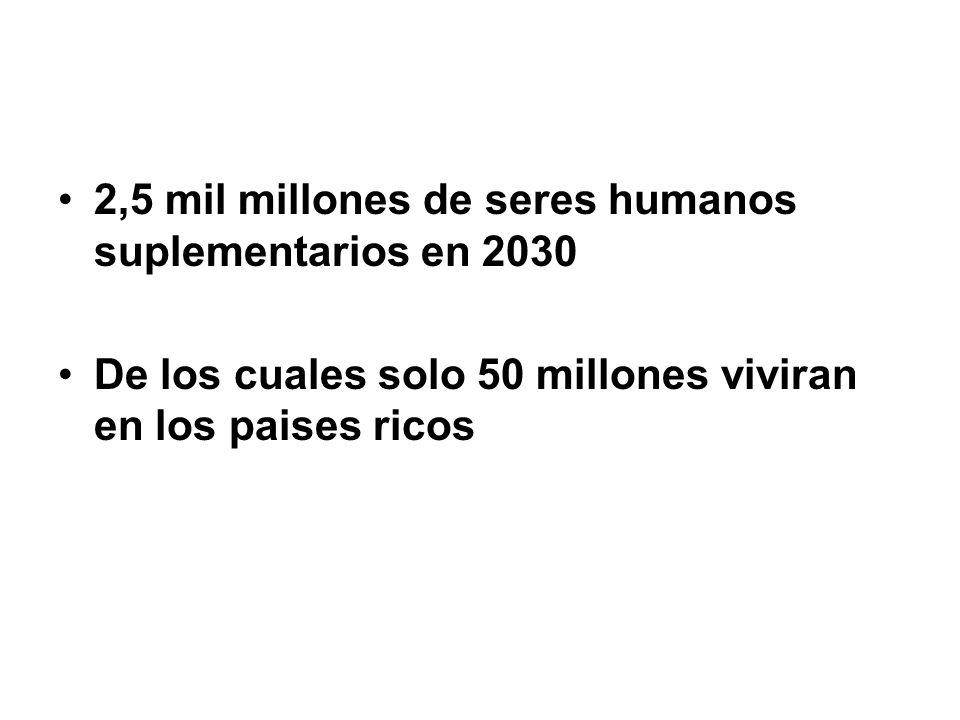 2,5 mil millones de seres humanos suplementarios en 2030