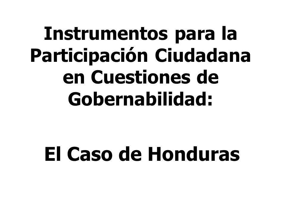 Instrumentos para la Participación Ciudadana en Cuestiones de Gobernabilidad:
