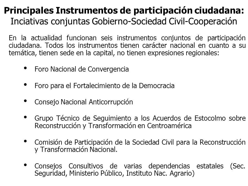 Principales Instrumentos de participación ciudadana: Inciativas conjuntas Gobierno-Sociedad Civil-Cooperación