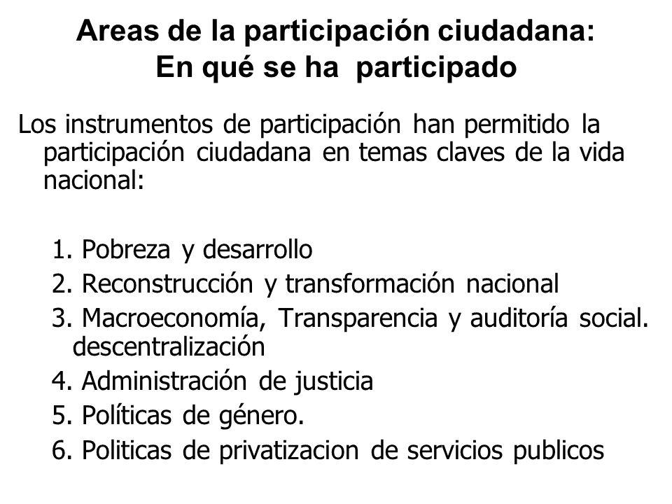 Areas de la participación ciudadana: En qué se ha participado