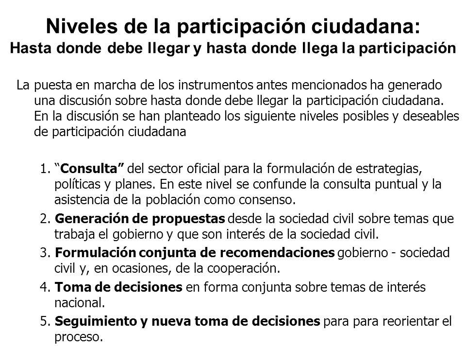 Niveles de la participación ciudadana: Hasta donde debe llegar y hasta donde llega la participación