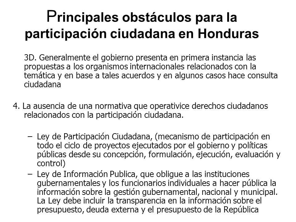 Principales obstáculos para la participación ciudadana en Honduras