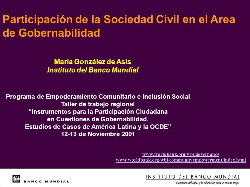 Participación de la Sociedad Civil en el Area de Gobernabilidad