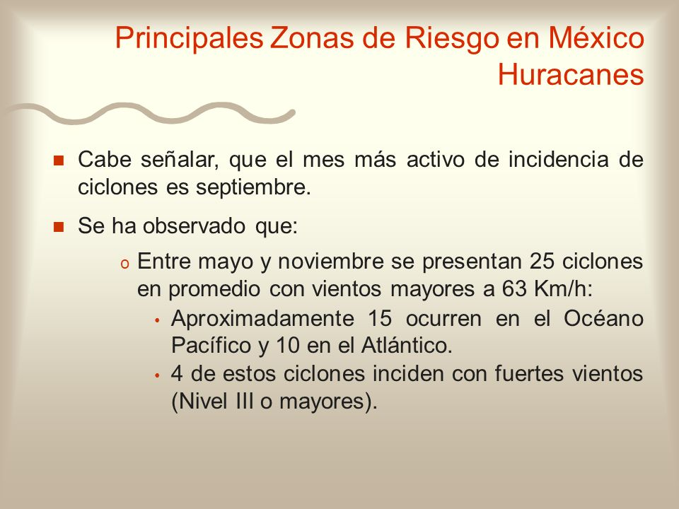 Principales Zonas de Riesgo en México Huracanes