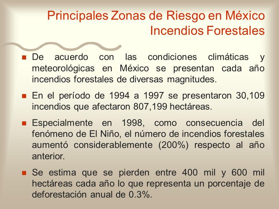 Principales Zonas de Riesgo en México Incendios Forestales
