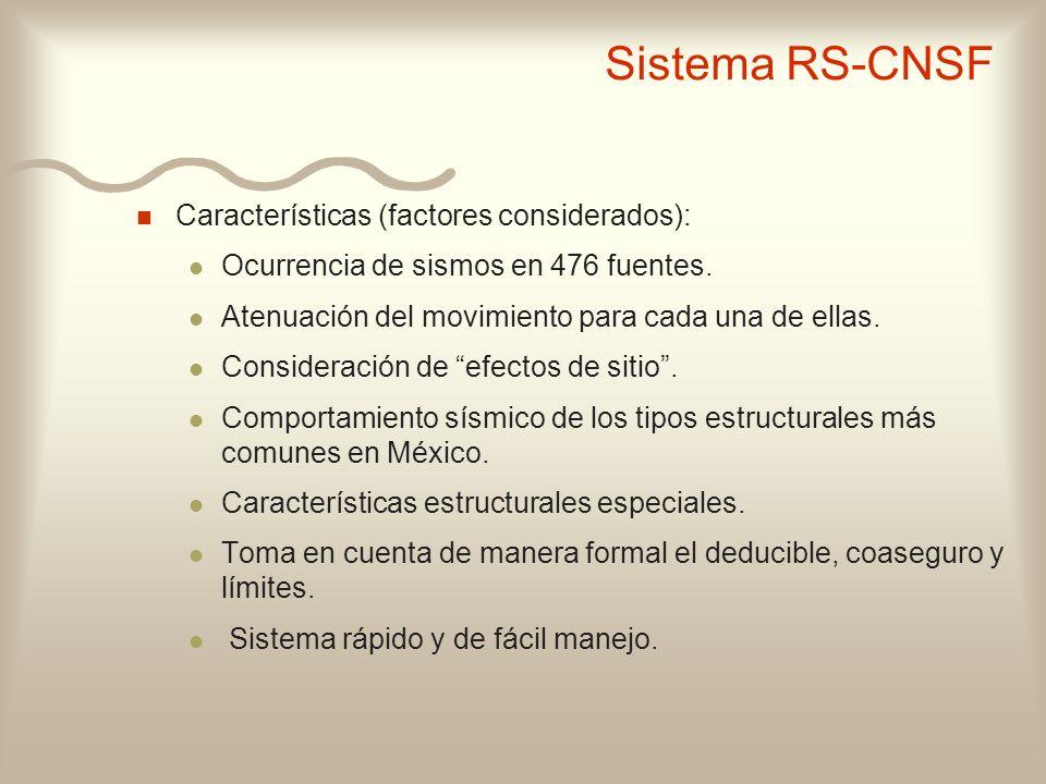 Sistema RS-CNSF Características (factores considerados):