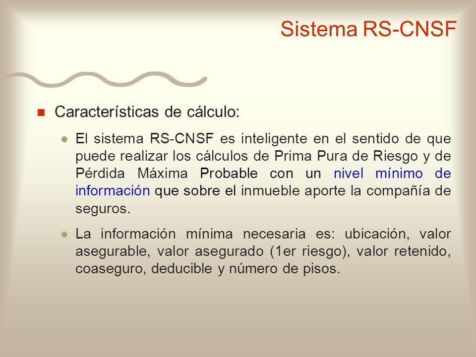 Sistema RS-CNSF Características de cálculo: