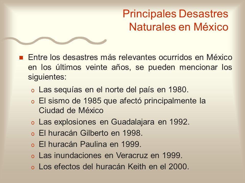 Principales Desastres Naturales en México