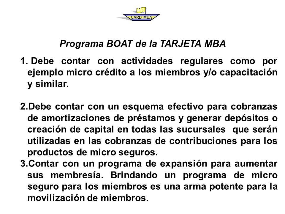 Programa BOAT de la TARJETA MBA
