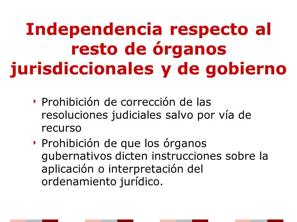 Independencia respecto al resto de órganos jurisdiccionales y de gobierno
