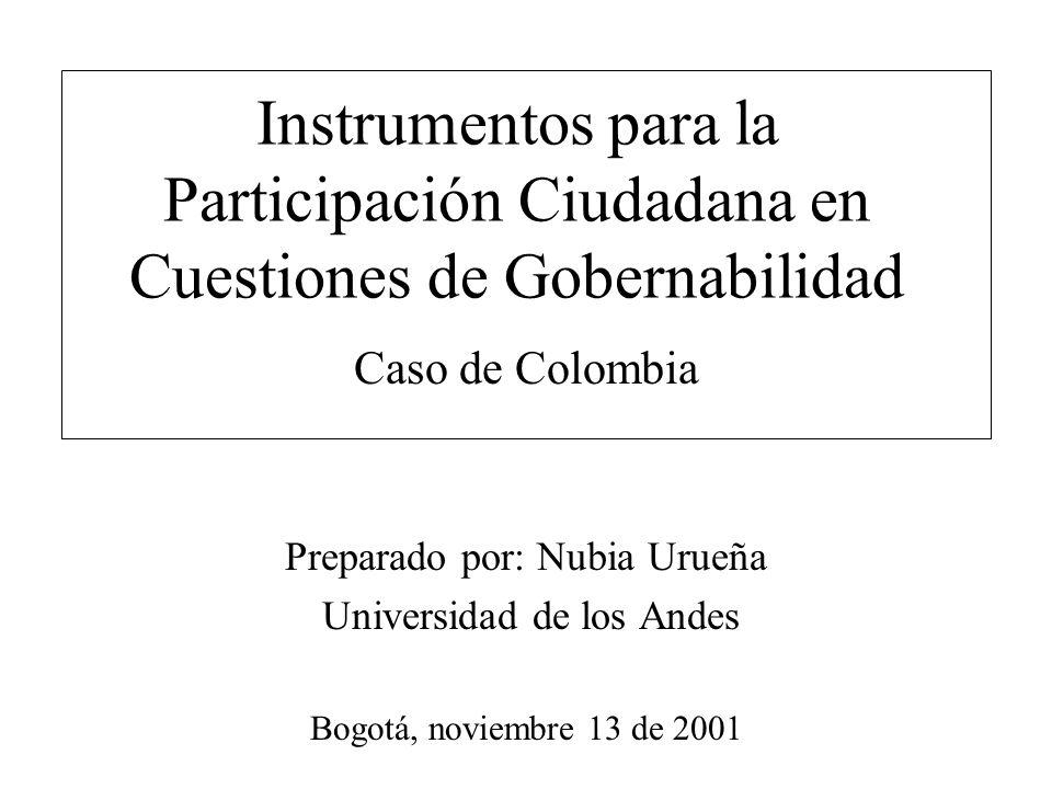 Instrumentos para la Participación Ciudadana en Cuestiones de Gobernabilidad