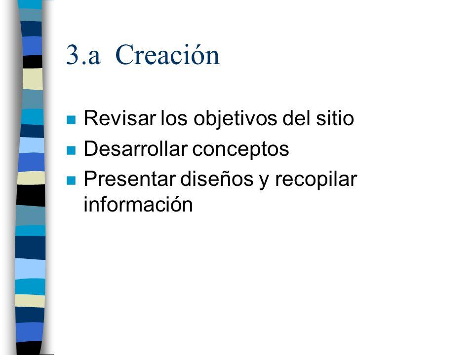 3.a Creación Revisar los objetivos del sitio Desarrollar conceptos