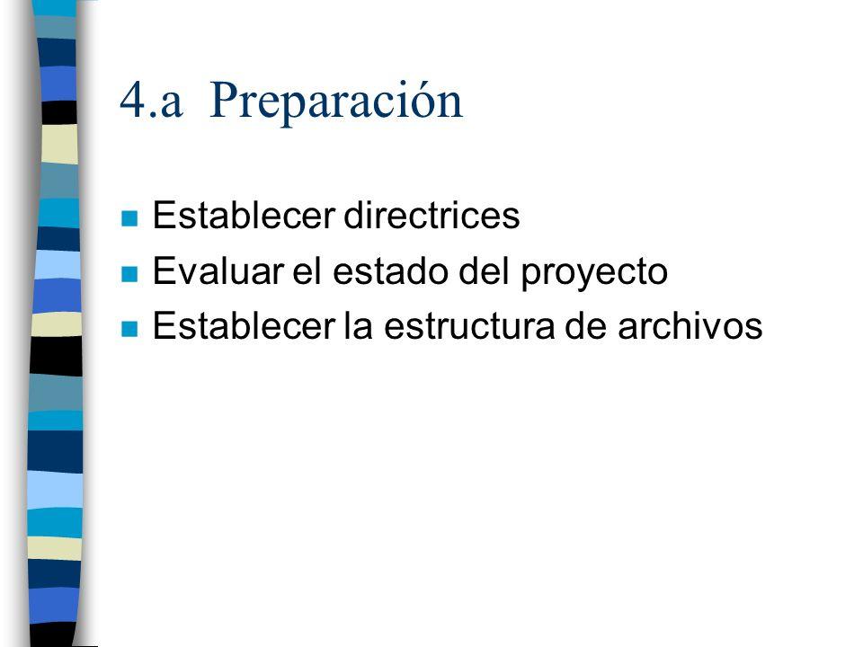 4.a Preparación Establecer directrices Evaluar el estado del proyecto