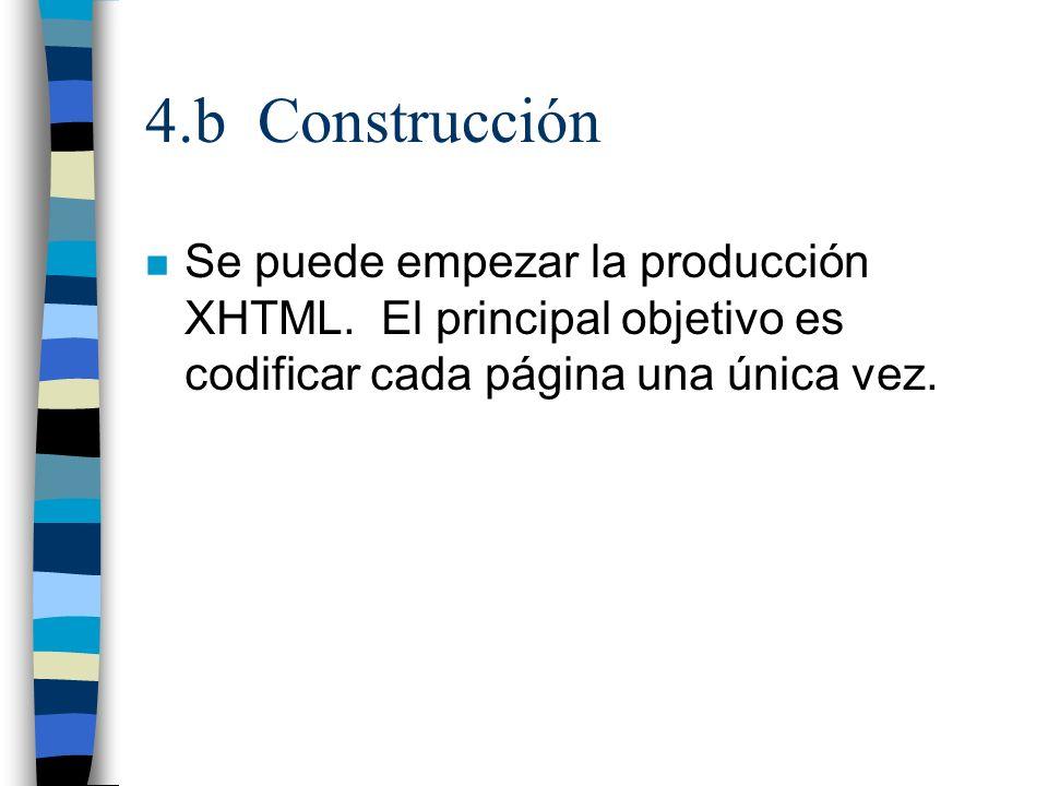 4.b Construcción Se puede empezar la producción XHTML.