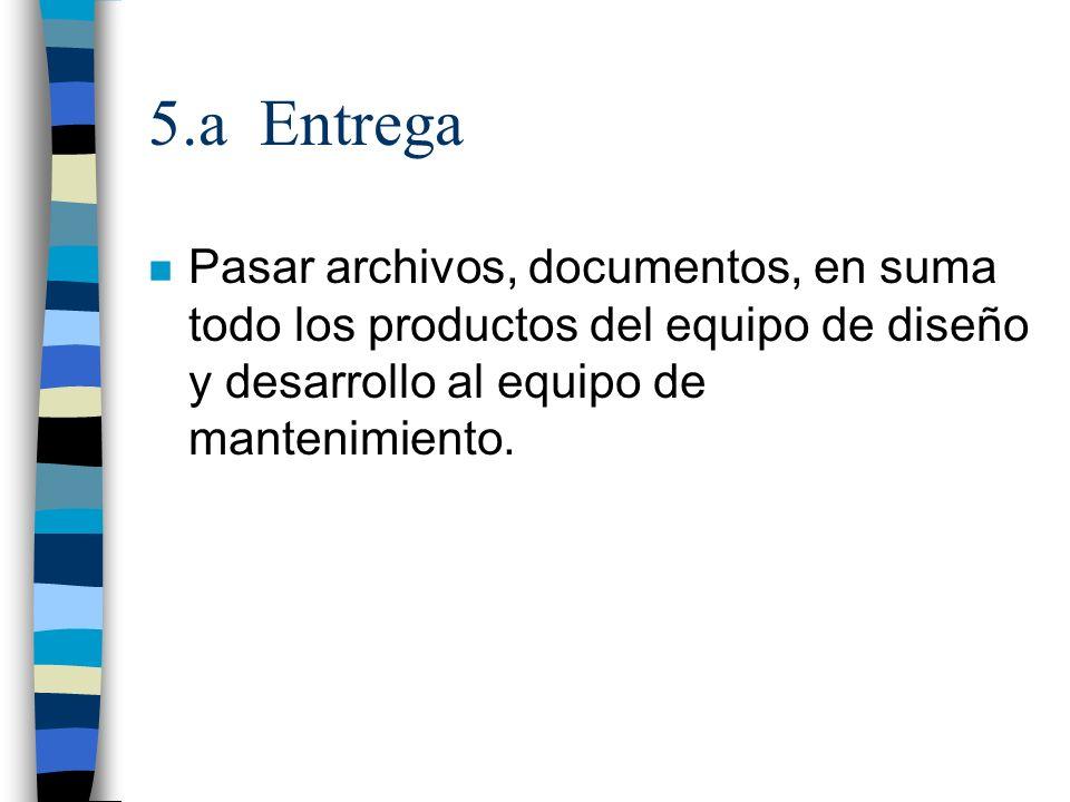 5.a Entrega Pasar archivos, documentos, en suma todo los productos del equipo de diseño y desarrollo al equipo de mantenimiento.