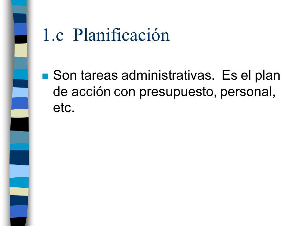1.c Planificación Son tareas administrativas.