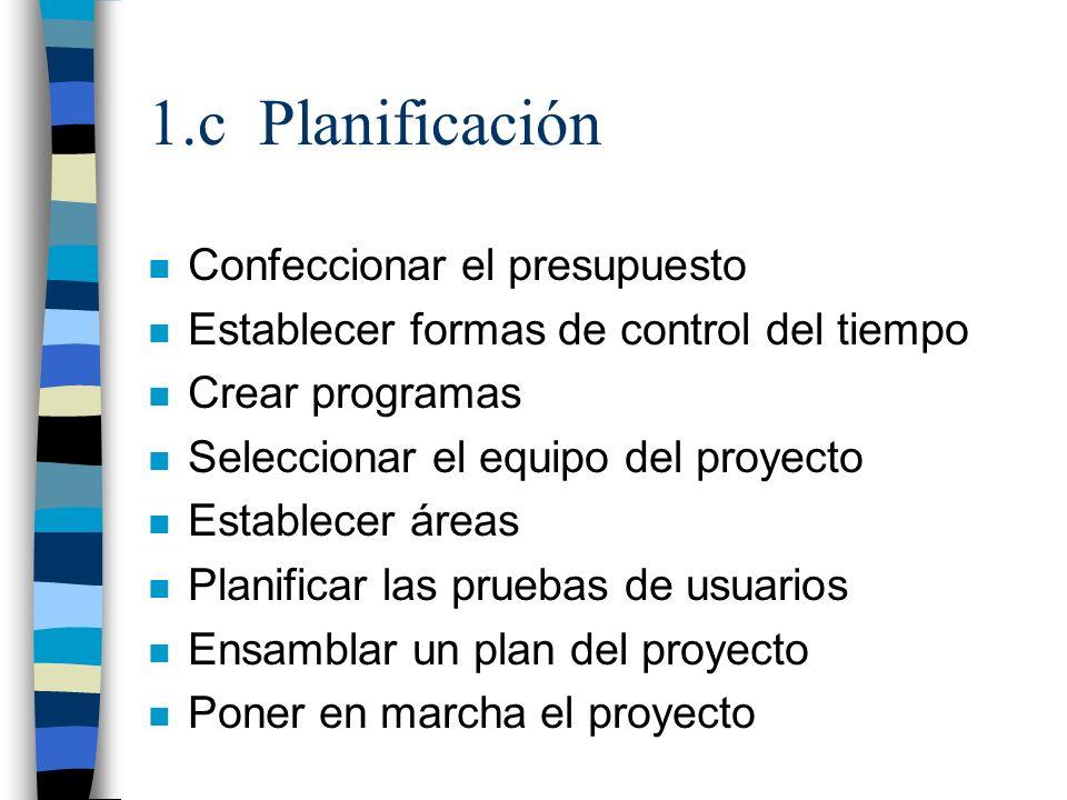 1.c Planificación Confeccionar el presupuesto