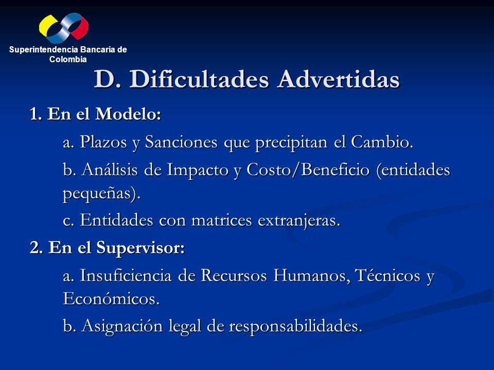 D. Dificultades Advertidas