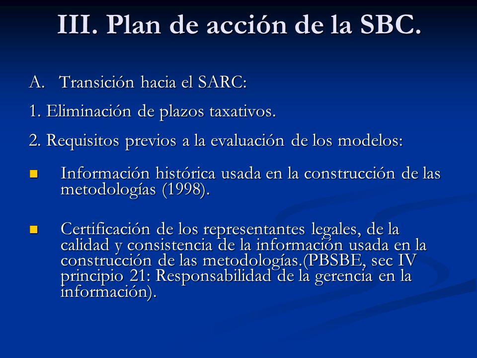 III. Plan de acción de la SBC.