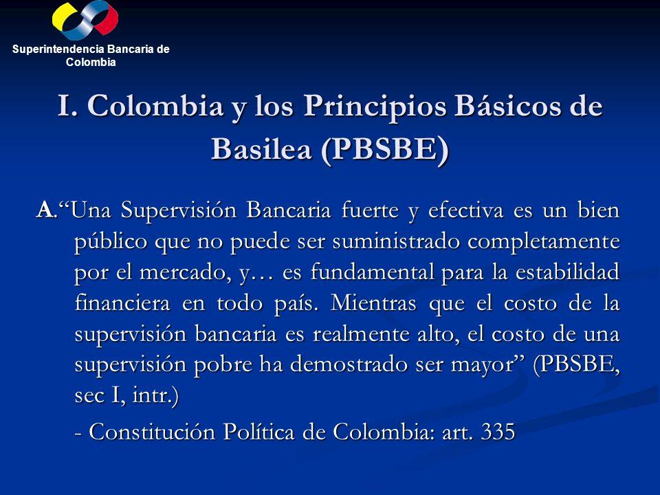 I. Colombia y los Principios Básicos de Basilea (PBSBE)